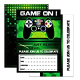 WERNNSAI Game Invitations - 20 Set Magical Fill in Game Party Invitations with Envelopes for Kids Boys Game Lovers Birthday Baby Shower Game Themed Party Supplies