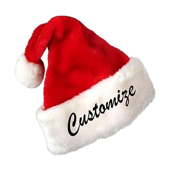 2aefe9b1d Amazon.com: Custom Text Embroidered Red Plush Santa Hat ...