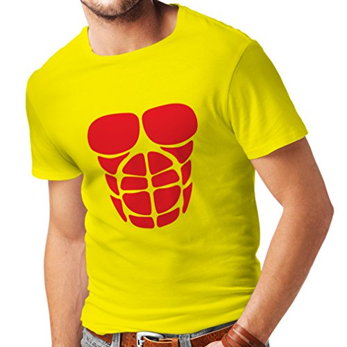 lepni.me T Shirts for Men for Your Muscle Growth - Funny Workout Shirts (X-Large Yellow Red)