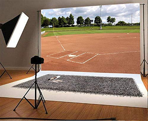 (AOFOTO 8x6ft Baseball Field Backdrop Hardball Match Softball Ball Park Sports Game Stadium Ground Ballpark Photography Background Kids Boy Sportsman Portrait Batter Catcher Pitcher Photo Studio Props)