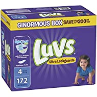 Luvs Ulta Leakguards Disposble Diapers, Size 4, 172 Count, ONE Month Supply