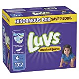 Luvs Ultra Leakguards Disposable Diapers, Size 4, 178 Count, ONE Month Supply