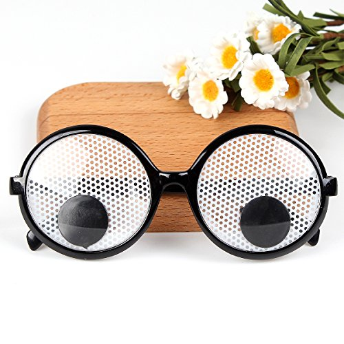 Asian Eye Glasses Costume (YiGooood Funny Googly Eyes Goggles Shaking Party Glasses Toys for Party Cosplay Costume Party)