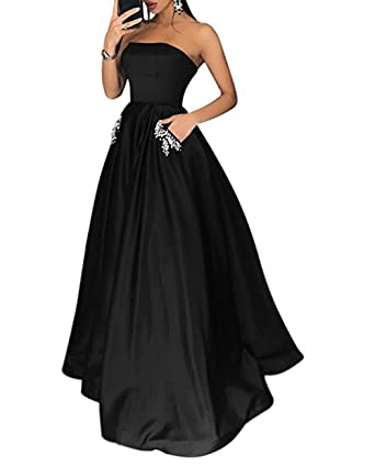 Z Sexy Strapless Satin Prom Dresses Crystal Beaded Long Formal Evening Dresses Party Gowns