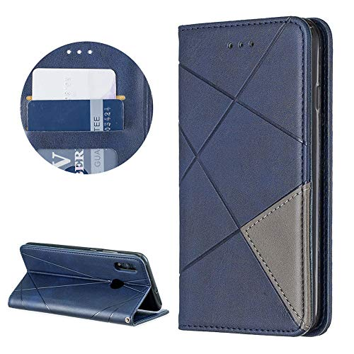 Surakey Compatible for Huawei P Smart 2019 Case Mirror Flip Case Clear View Stand Flip Cover Wallet Leather Case Retro Phone Protector Shockproof Kickstand Full Body Protective,Blue