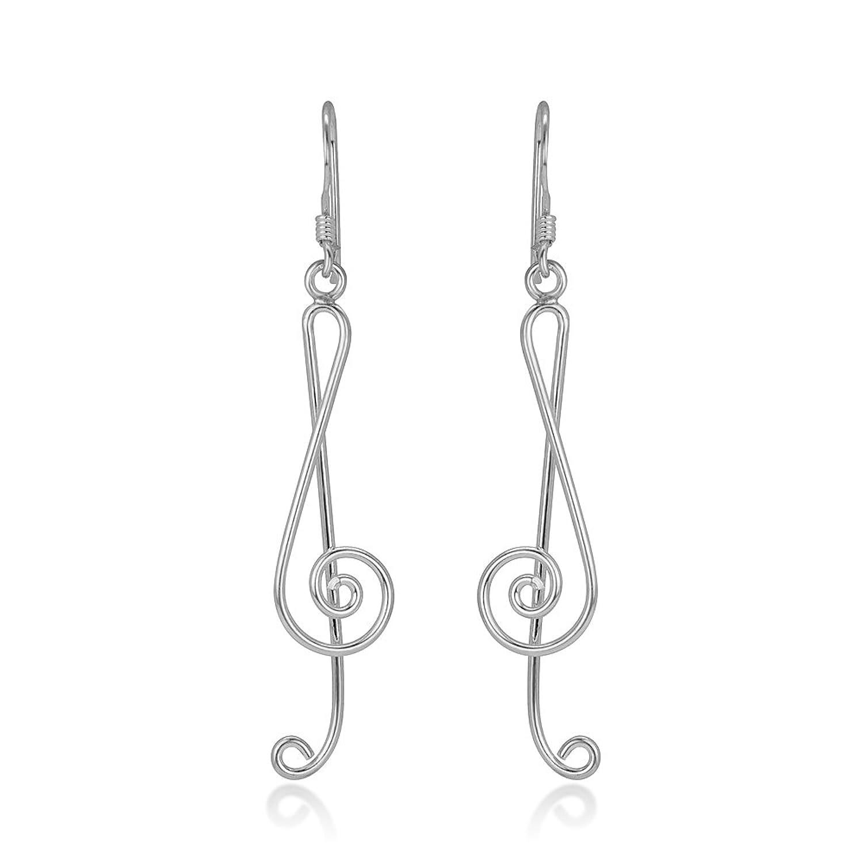 "925 Sterling Silver Treble G Clef Musical Note Music Lover Dangle Hook Earrings 2"""