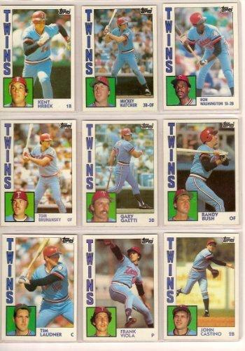 (Minnesota Twins 1984 Topps Baseball Team Set with/Traded Cards (AND GET A FREE 1983 GARY GAETTI ROOKIE CARD) (Frank Viola) (Gary Ward) (Gary Gaetti) (John Castino) (Kent Hrbek) (Tim Laudner) (Randy Bush) (Tom Brunansky) (Ron Washington) (Mickey Hatcher) (Tim Teufel))