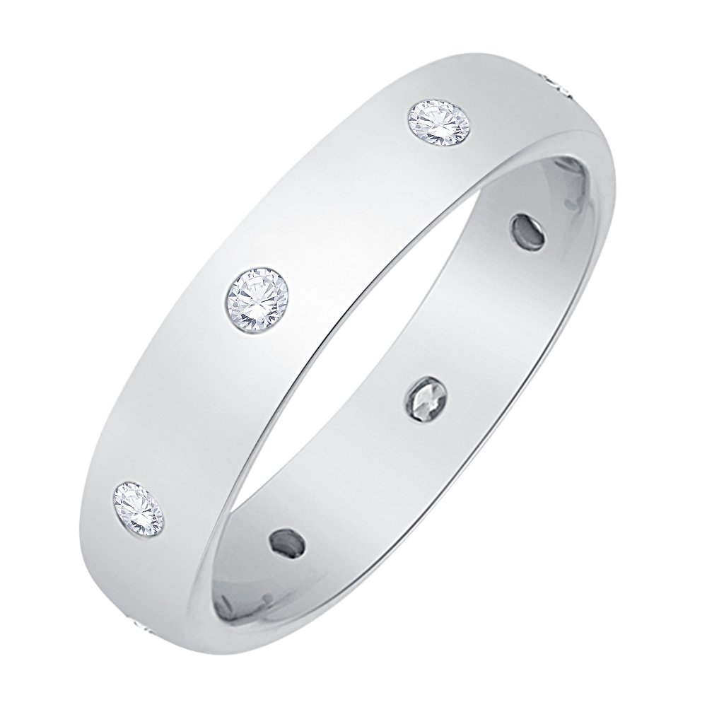 Diamond Eternity Band in Sterling Silver (1/3 cttw) (I-Color, SI3-I1 Clarity) (Size-6.25)