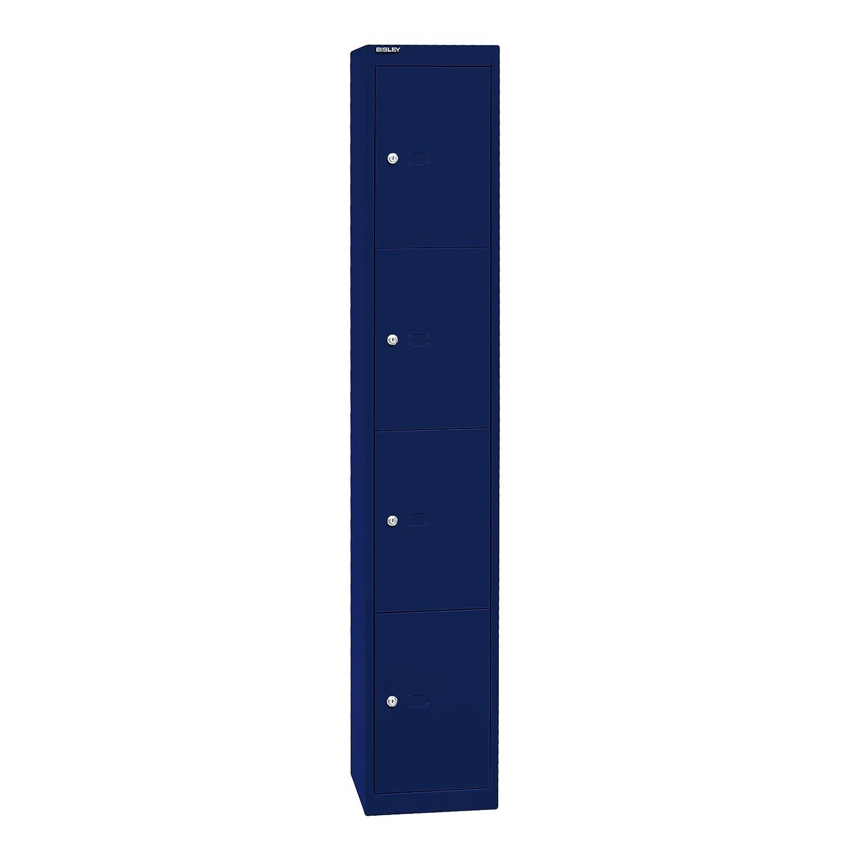 Bisley OFFICE Garderobenschrank - 1 Abteil, 4 Fächer - Tiefe 305 mm, oxfordblau | CLK124639 - Garderobenschrank Kleiderspind Schließfachschrank Spind Stahlspind Umkleideschrank