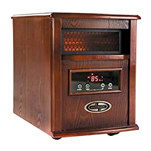 Snow Joe SJQH1500-DO 1500W Quartz Dark Oak Wood Portable Infrared Space Heater with Stainless Steel Diffuser & Remote Control