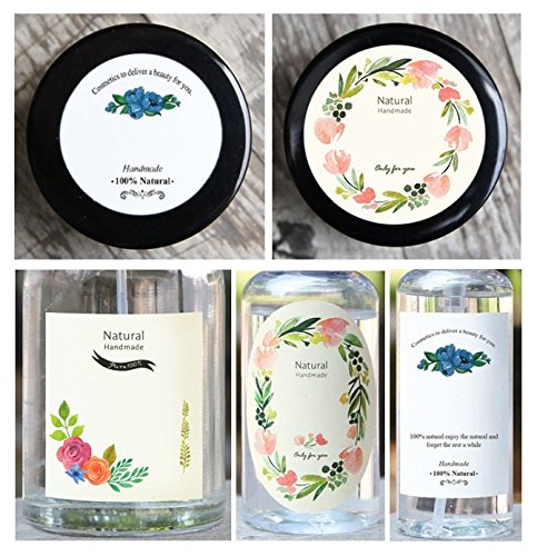 Floral Design Labels Writable, 5 Kinds of floral design, 10 per each, total 50 sheets, For Glass Jars, Plastic Bottle, Multi Purpose Containers, etc, …