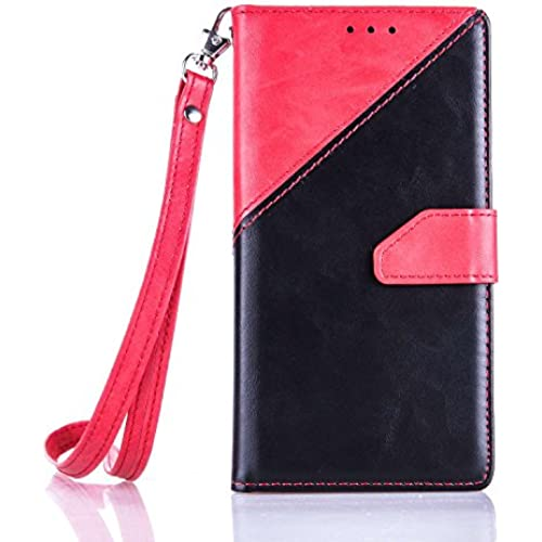 Samsung Galaxy S7 Case, YouVogue Wallet Case PU Leather Stand Case Credit Card Holder Flip Cover Skin with Secure Wrist Strap, Red+Black Sales