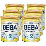 Nestlé BEBA Optipro 2 Folgemilch, nach dem 6. Monat, 6er Pack (6 x 800 g), Pulver, wiederverschließbar mit praktischer Löffelablage, 800 g Dose