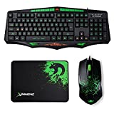 FELICON Gaming Keyboard Mouse Sets Green LED Backlit Multimedia Ergonomic Wired USB + Wired USB Gaming Mouse 1600DPI 6 Buttons Optical Green LED + Large Black Gaming Mousepad