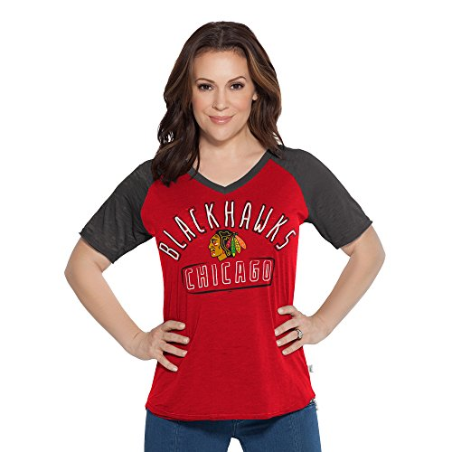 NHL Chicago Blackhawks Women's Touch Ace V-Neck Short Sleeve Tee, Large, Red (Saints Orleans Pullover Jacket New)