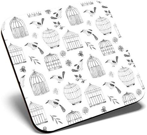 Gran posavasos cuadrado BW – Jaula de pájaros patrón de acuarela   Posavasos de calidad brillante   protección de mesa para cualquier tipo de mesa # 42565