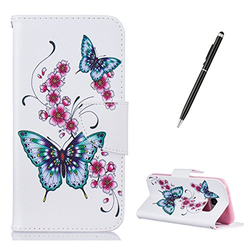 CasesHome iPhone SE/iPhone 5/5S Wallet Case + Free Black Stylus Magnetic Closure Soft Rubber Bumper PU Leather Case with Colourful Pattern Design [Butterfly and Flowers]
