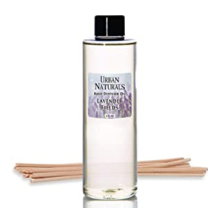 Urban Naturals Lavender Fields Essential Oil Reed Diffuser Refill & Set of Replacement Reed Sticks | Soothing, Aromatic Home Fragrance for Aromatherapy & Stress Relief | Includes a Set of Reed Sticks