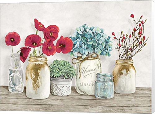 Floral Composition with Mason Jars Jenny Thomlinson Canvas