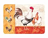 Medium Premium Glass Chopping Board - Rooster Family Kitchen Worktop Saver Protector