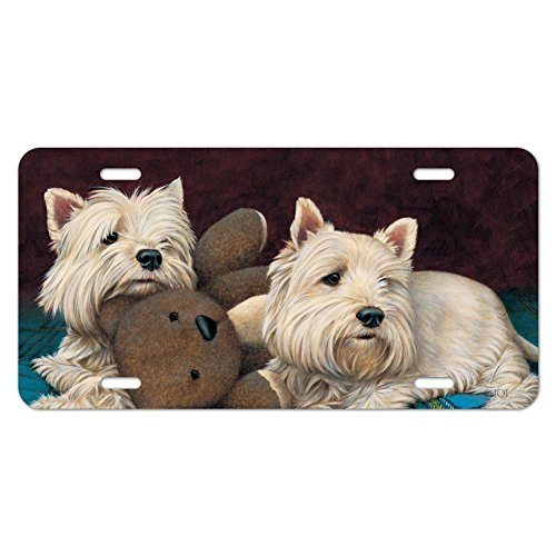 zaeshe3536658 Westie West Highland White Terrier Dogs Teddy Bear Novelty Metal Vanity Tag License Plate Auto Tag 12 x 6 inch.