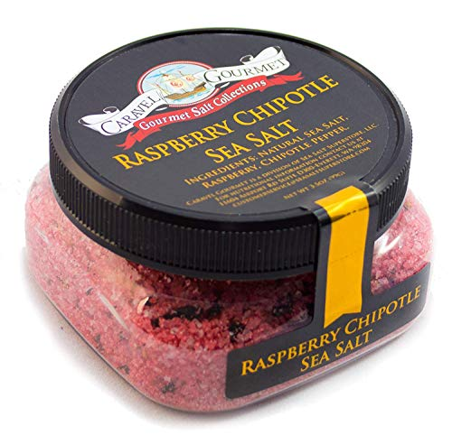 Raspberry Chipotle Sea Salt - All-Natural Sea Salt Infused with Raspberry and Chipotle Peppers, Bright, Bold, Fruity, Spicy - No Gluten, No MSG, Non-GMO - Cooking, Finishing Salt - 4 oz. Stackable Jar