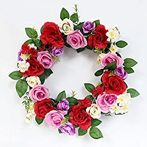 Puleo International 20-inch Artificial Rose Wreath Potted Plant 2