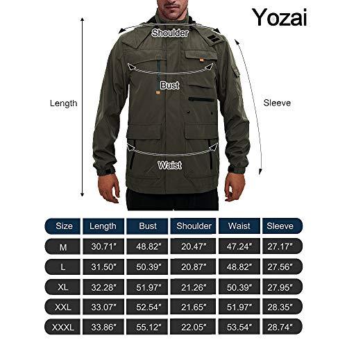 Yozai Jacket for Men, Men's Outdoor Sports Hooded Windproof Jacket Waterproof Rain Coat Black L by Yozai (Image #6)