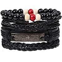 Impression PU Leather and Stainless Steel English Lord's Prayer Bible Cross Christ Bracelet/Wristband for Men's and Boys (Black)