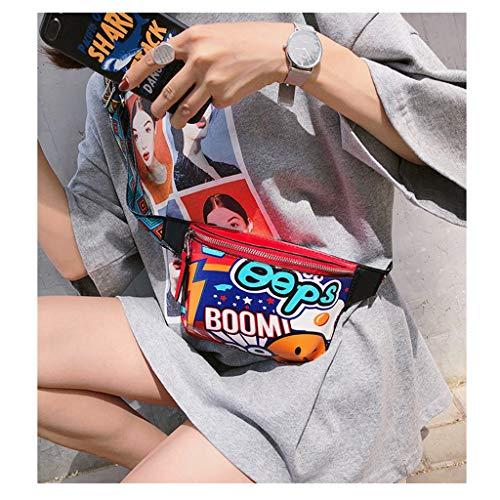 Dabixx - Bolso de Cintura para Mujer, diseño de Graffiti, Color Azul, Color Rojo, tamaño 20 x 14 x 4cm/7.87 x 5.51 x 1.57