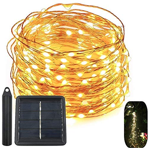 120 LEDs String Fairy Lights,Solar Powered 6 Six-Ft Strands,20 Warm White LEDs per Strand,Flexible Copper Wire for Glowing Watering Can with Light, Waterproof for Outdoor Decoration