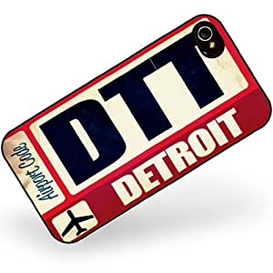 Rubber Case for iphone 4 4s Airportcode DTT Detroit - Neonblond