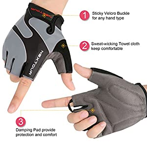 Cycling Gloves Mountain Bike Gloves Half Finger Road Racing Riding Gloves with Light Anti-slip Shock-absorbing Biking Gloves for Men and Women