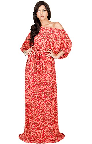 KOH KOH Women Long Sexy One Off Shoulder Flowy Summer Bohemian Boho Print Floral Casual Short 3/4 Sleeve Gown Gowns Maxi Dress Dresses, Red and Beige L 12-14