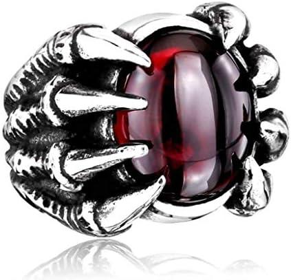 リング ドラゴンクロー,性別 チタン鋼 ファッション レトロ ルビー 横暴 宝石で設定 リング-A-11
