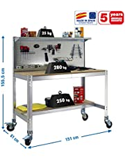 Banco de trabajo con ruedas BT3 Galva/Madera Simonrack 1555x1510x610 mms 280 Kgs de capacidad total al llevar ruedas