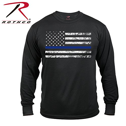 Rothco Long Sleeve Thin Blue Line T-Shirt, Large