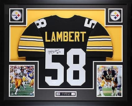 d5983d93d Jack Lambert Autographed Black Steelers Jersey - Beautifully Matted and  Framed - Hand Signed By Jack