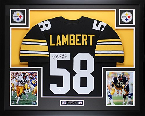 Jack Lambert Autographed Black Steelers Jersey - Beautifully Matted and Framed - Hand Signed By Jack Lambert and Certified Authentic by Auto JSA COA - Includes Certificate of - Hand Steelers Signed Jersey