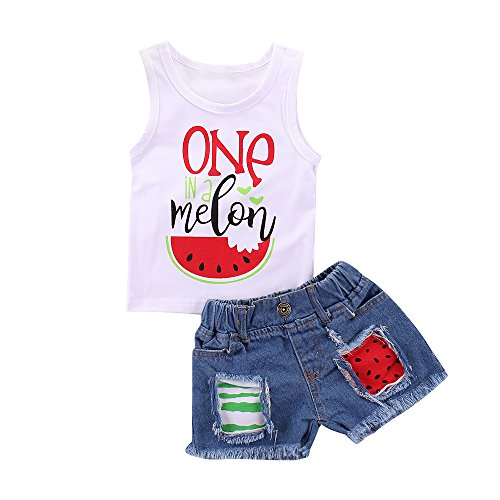 (Mikrdoo 2Pcs Toddler Girl Summer Outfits ONE Watermelon Vest Tops + Ripped Denim Shorts Baby Girl Clothes (6-12 Months, C))