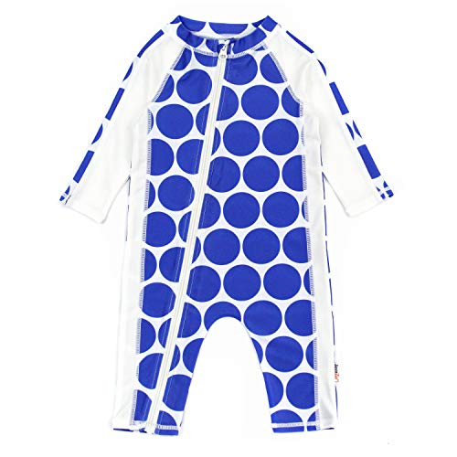 SwimZip UPF 50+ Girls Long Sleeve Sunsuit | Blue Dot 18-24 -