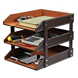 Office File Document Organizer Tray, Ezeso 3 Tier PU Leather Magazine File Holder Letter Tray Organizer Storage Rack(Brown)