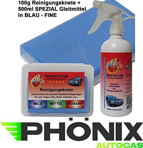 Sebatop - Plastilina detergente, 100 g, con contenitore e lubrificante speciale da 500 ml, colore: blu, morbida