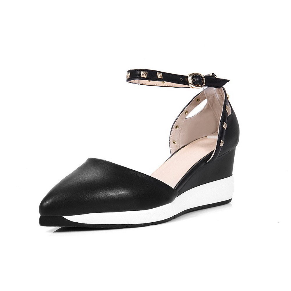 AmoonyFashion Women's Soft Material Pointed Closed Toe Kitten Heels Buckle Solid Pumps Shoes, Black, 37