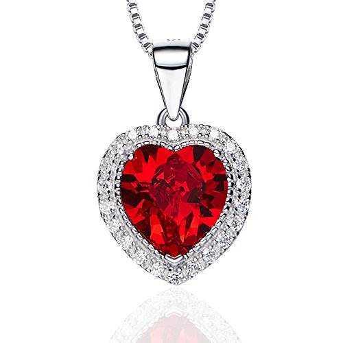- Birthstone Necklace, SILYHEART Love Heart Pendant Necklace Made With Swarovski Crystals, Fashion Birthstone Jewelry for Women