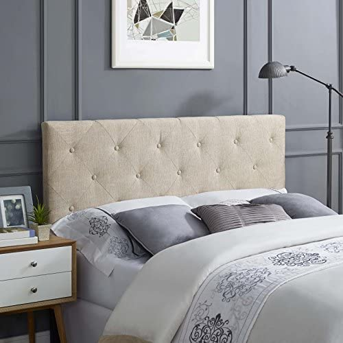 Modway Terisa Tufted Button Diamond Pattern Linen Fabric Upholstered Queen Headboard