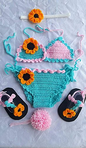 [SET SUN FLOWER BLUE PINK BIKINI Baby Child Infant Girl Bikini Crochet, Shoes Crochet, Crochet Swimsuit, Headband Crochet#0-3] (Diy Aviator Costume)