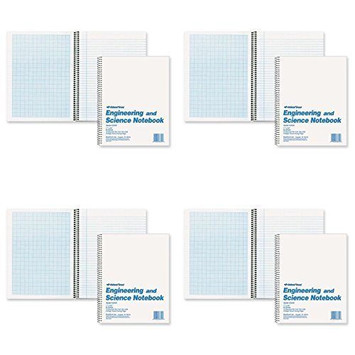 National Brand Engineering and Science Notebook, College with Margin and 10 X 10 Quad, White, 11 x 8.5 Inches, 60 Sheets (33610), 4 Packs