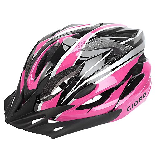 GIORO Ultralight Adult Cycling Bike Helmet for Men Women Specialized Road Urban Mountain Bicycle Safety Protection Certified with Removable Visor and Quick Release Adjustable Strap (Pink & Black)