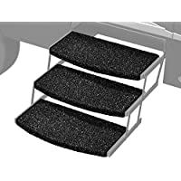 Prest-O-Fit 2-4049 Black 22 Wide Wraparound Radius RV Step Rug, 3 Pack, 3